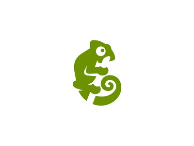 Chameleon gekko lizard playful simple kreatank negative space cute logo chameleon
