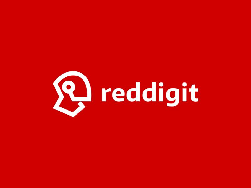 Reddigit helmet kreatank red abstract corporate simple logo technology tech droid robot