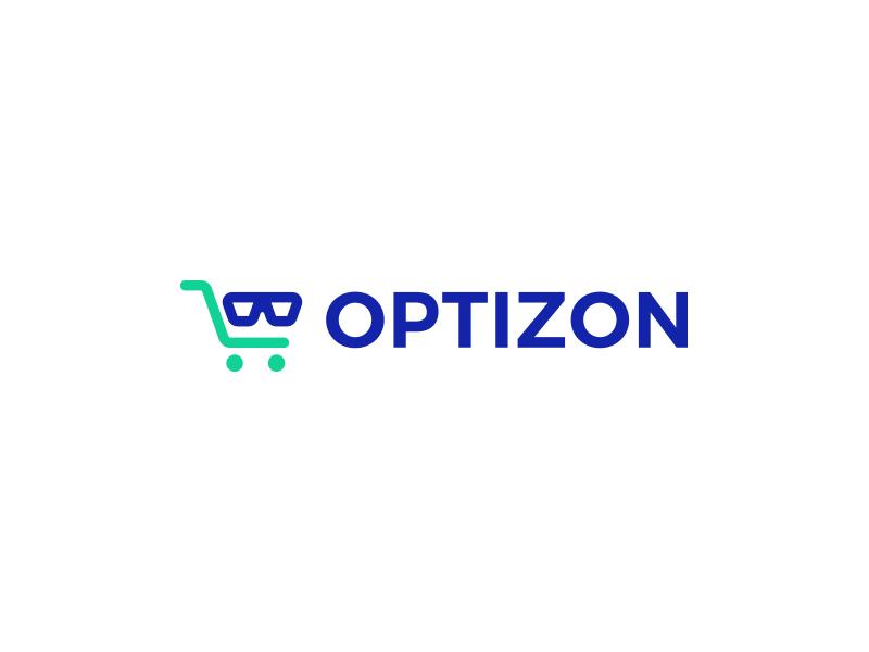 Optizon optician optical kreatank store creative logo design glasses shopping cart shop e-commerce