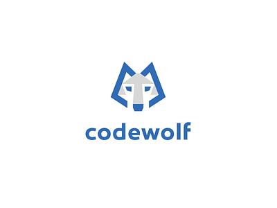 Codewolf coding kreatank brand identity branding wolf head simple abstract creative logo identity wolves dog wolf it software coder programming code