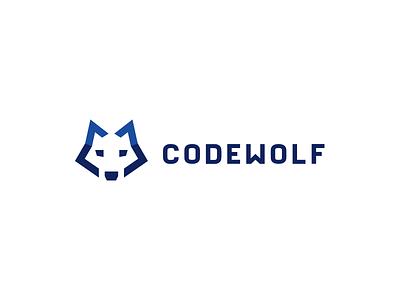 Codewolf 2.0 kreatank brand identity creative digital tech simple flat logo abstract head dog wolves wolf software programmer programming coding code