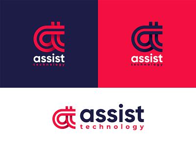 Assist Technology internet marketing digital branding line kreatank gradient abstract brand identity at letter mark logo technology tech assistance