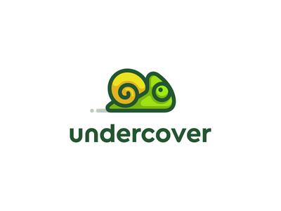 undercover illustration spiral simple kreatank creative playful funny logo chameleon snail
