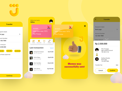 Bank Jago Digital Mobile Banking App profile 3d money transfer money fintech finance yellow bank banking app app ux ui design