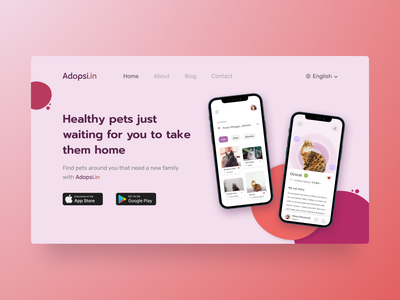 Pet Adoption App - Landing Page hero section hero image website design illustration website pets web design landing design ui design app