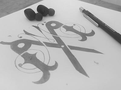 Sketch of double M vintage monogram pencil sketch barbershop logo barbershop barber sketching monogram mlogo graphic logo