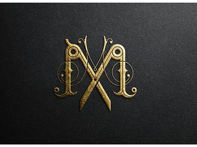 Double M texture mockup gold lettermark graphic لوگو monogram mlogo logo