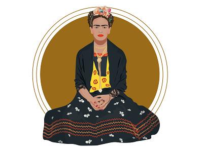 Frida Kahlo mexico woman frida kahlo fridakahlo character adobe illustrator flat illustration 2d