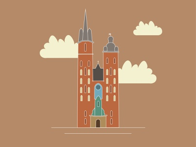 St. Mary's Basilica mariacki basilica adobe illustrator flat 2d clouds illustration illustrator building church cracow kraków