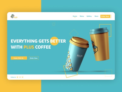 Coffee Website | Plus Coffee coffee colorful new colors coffee website coffee shop website concept branding design logo ux uiux ui