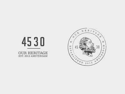45 30 - Our Heritage logo identity branding clothing