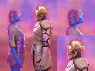Lost in the deep blender abstract illustration character design 3d