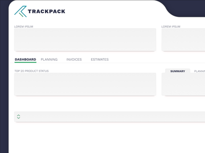 TrackPack Concept wip ux design dashboard