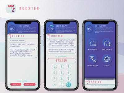 Rooster - A Homebuyer Chatbot real estate mortgage neumorphism ux design chatbot