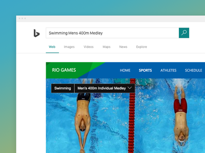 Bing Rio Games Experience experience answer swimming ui search olympics rio games infographics bing