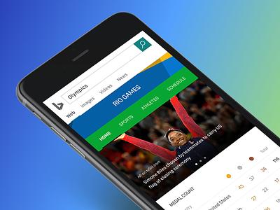 Bing Rio Games Experience user experience ui team usa simone biles 2016 rio games olympics mobile