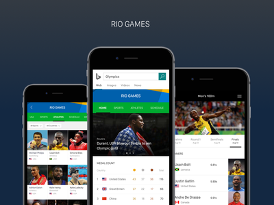 Bing Rio Games Experience riogames rio2016 user experience ui usain bolt search rio games olympics ux experience bing answer