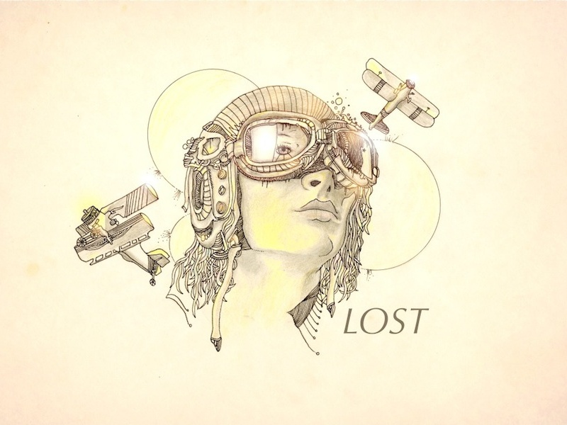 "Amelia Earhart ""Lost"" aviator drawing color pencil flight plane lost goggles"