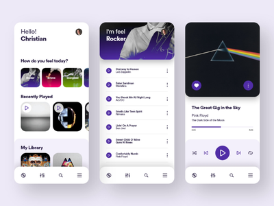 UI UX Inspiration N. 14 - Music App Concept android ios violet adobe xd app interaction ux ui user experiences user interface ux design player music ui design