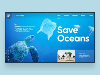Web UI Inspiration - N. 15 - Save Oceans wildlife wild animals oceanic nature ocean hero image ui design design website web design landing branding hero section inspiration landing page