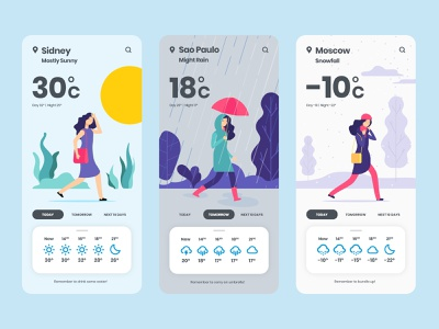 UI UX Inspiration - N. 16 - Weather App Concept weather weather icon weather app app app designer ui design uidesign uxdesign app design illustration inspiration