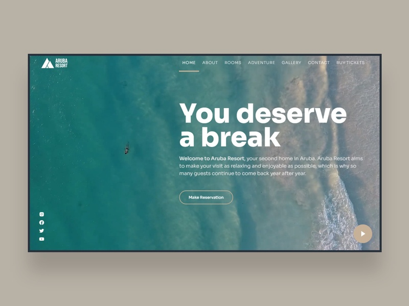 Web UI Inspiration - N. 17 - Animated HTML Hero Concept holidays animation ocean travel beach hero image website web design ui design landing hero section landing page