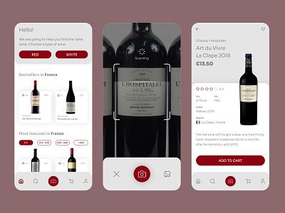 UI UX Inspiration - N. 22 - Wine Scan & Shop app uxdesign uiux wine scanning winery app design adobexd uiuxdesigner interface design interface ui design inspiration