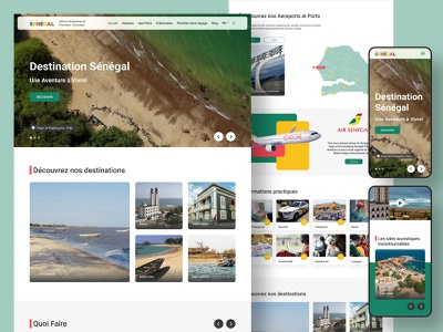 Website UI/UX Prototype - Destination Senegal inspiration design branding website ui design web design travel agency dakar senegal tourism website tourism fly traveling travel