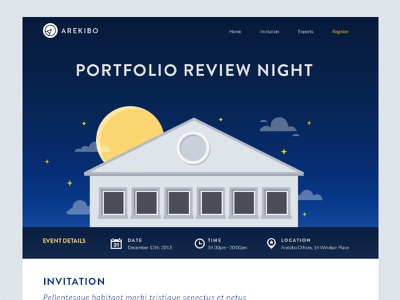 Portfolio Review illustration ui event landing page night building sky moon