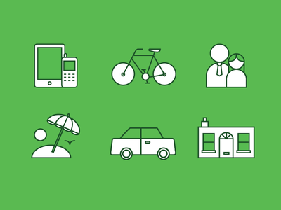Insurance Icons icons illustration insurance house bicycle people car
