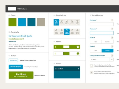 Style Guide style guide web ui app form buttons progress brand