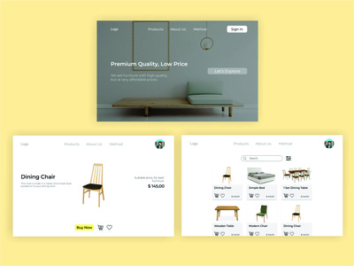 Furniture E-commerce minimal app flat web design ux ui