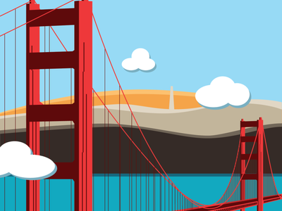 Golden Gate Bridge vector design illustration