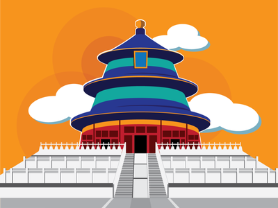 Temple of Heaven flat vector illustration design