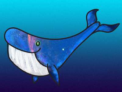 Galaxy Whale fish ocean space color pen texture illustration textured blue whale galaxy