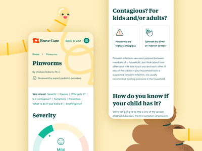 Brave Care Illness Pages — Pinworms mobile graphic design ui healthcare illustration web
