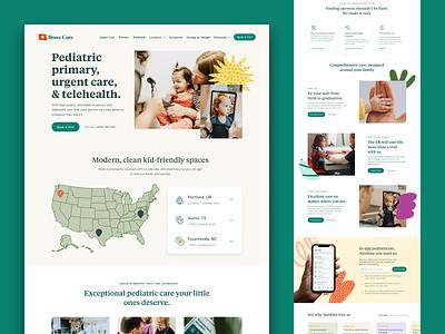 Brave Care Homepage Refresh colors ux ui kids children healthcare icons branding design web