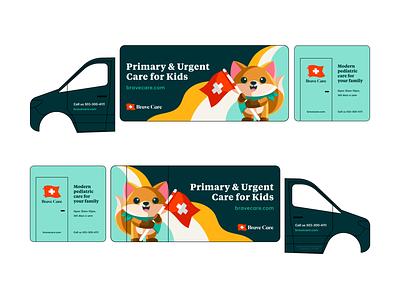 Brave Care Mobile Clinic Van portland pediatrician healthcare colorful children kids illustration illutstr truck design van design mascot branding graphic design