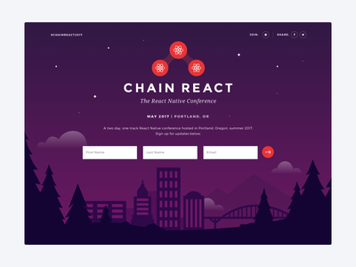 Chain React - The React Native Conference web landing page illustration portland
