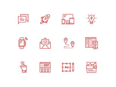 Digital Agency Line Icons ux ui web technology illustration icons