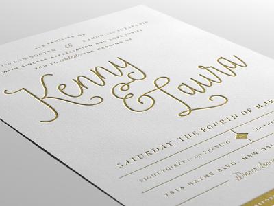 Letterpress Wedding Invitation typography invite invitation wedding letterpress