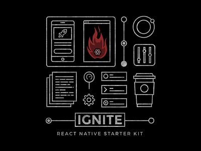 "Ignite ""React Native Starter Kit"" T-shirt Design starter kit react native ignite developer icons illustration t shirt"