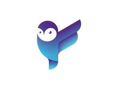 Owl Mascot geometric animal mascot gradient wings bird owl