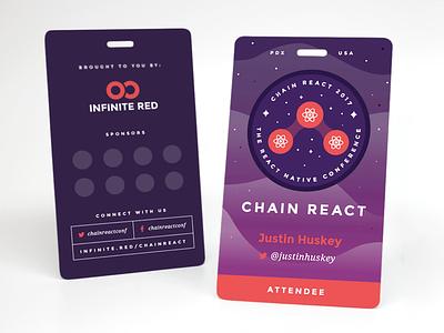 Chain React Attendee Badge mockup developer react native lanyard badge conference