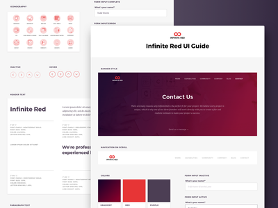 Infinite Red UI Guide typography icons gradient web design redesign ux ui web