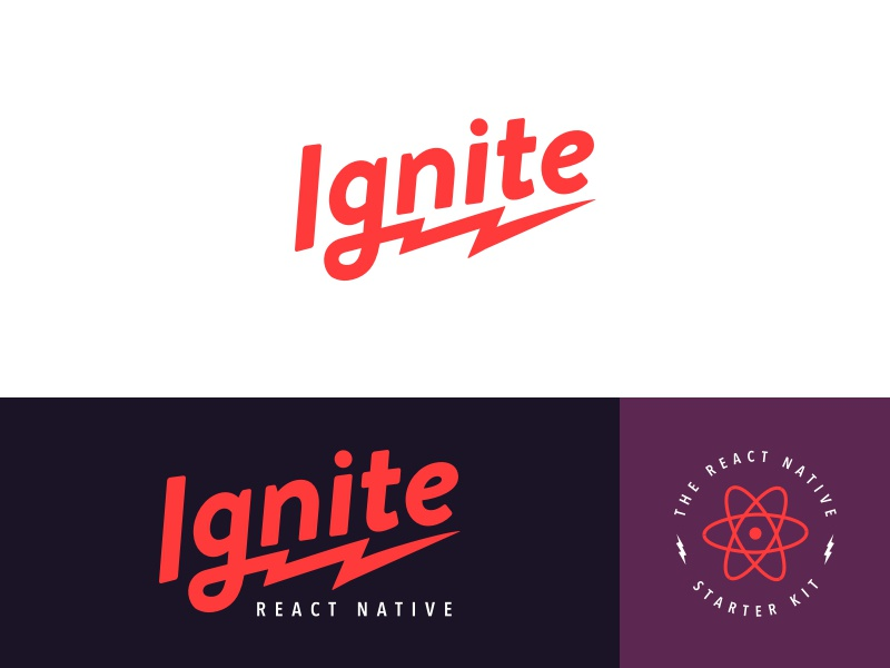 Ignite Logo badge logotype atom electric lightning rebrand logo react native