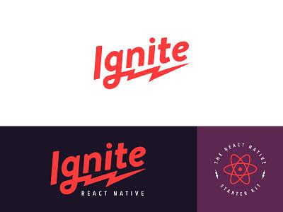 Ignite Logo badge logotype atom electric lightning rebrand logo react native
