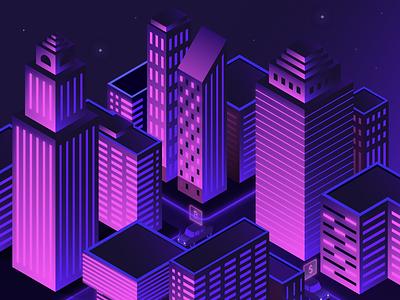 AC Isometric City cryptocurrency crypto gradient neon illustration city city scene isometric isometric city futuristic city