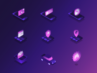 Ridesharing Icon Set