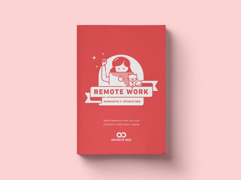 Remote Work Manifesto software tech ribbon cat ebook design print cover remote illustration